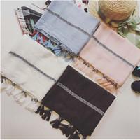 Bufanda de borlas de lujo para las mujeres Bufandas lisas hechas a mano franjas chales de algodón viscosa musulmanes Hijabs vendimia bufanda moda envolturas FS61007