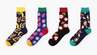 Wholesale Cotto Crew Socks Men Women Unisex Teen Teenager Tropical Fruit Party Theme Christmas Fun Funny Colorful Pattern Odd Socks Gift Good Quality