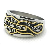 american steel line - Real Cool L stainless steel mens golden line silver biker ring Biker style ring wonderful jewelry
