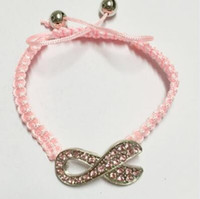 awareness ribbon colors - drop shipping popular20pcs Colors Pink Ribbon Breast Cancer Awareness Charm Sideways Rope Braided Shamballa Bracelet diy handmade jewelry