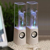 Cheap Dancing Water Speaker Music Audio 3.5MM Player LED Light 2 in 1 USB Mini Colorful Water-drop Show Speakers DHL Free Shipping