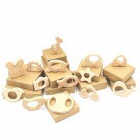 Wholesale Set of Organic Beech Wood Car Giraffe Bird Round Disk Animals Star Heart Wood Teethers Teething Holder Nursing Baby Gift EA0802