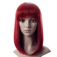 Wholesale Synthetic Wigs Wine Red Medium Long Wig Women s Cute Fringe Straight Bob Cosplay Wig Full Hair Synthetic Hair YD0117