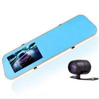 Cheap 4.3 inch Dual Lens camera car dvr mirror rear view recorder full HD 1080p Night Vision cars video rearview Loop Recording GI2230