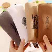 Wholesale Retro Towers Canvas Pencil Cases Students Paris Style Large Zipper Pencil Bag Stationery Material Escolar Office School Supplies