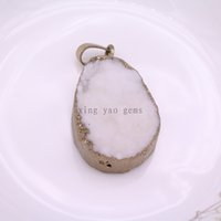 Wholesale White Nature Quartz Gold plated Druzy Geode connector Drusy Crystal Gem stone Pendant Beads for necklace etc