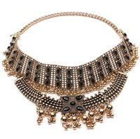 Wholesale Boho Collar Choker Necklace statement jewelry for women Fashion Vintage Ethnic style Bohemia Metal Beads Pendants necklaces NSE955