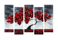wood picture frame - Hand Painted Oil Paintingss Beautiful Maple Tree Swaying In The Wind Panels Wood Framed Inside House Decoration x24inchx5pcs