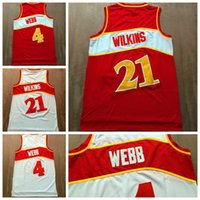 Wholesale 2016 Throwback Dominique Wilkins Jersey Team Red White Spud Webb Retro Shirts Uniforms Rev New Material High Quality