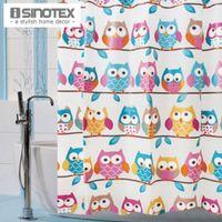 Wholesale 1 Shower Bath Curtain Cute Owls x180cm Bathroom Products Waterproof EVA Fashion Curtain With Hooks