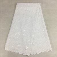Wholesale Hot selling white african swiss voile lace high quality cotton lace fabric for wedding yards WKS14