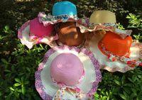 Wholesale 2016 New Korean Ladies summer hat hat cap flowers along the beach travel wave Straw hat cap