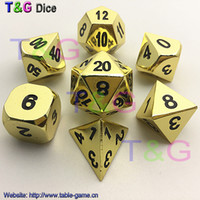 Wholesale New High Quality Gold Metal Rpg Dice set d4 d6 d8 d10 d d12 d20 playing dados jogos de tabuleiro with boxes for men gift