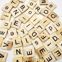 alphabet tiles - Set DIY Burlywood Color Wooden Alphabet Scrabble Tiles Black Letters Numbers Toys Crafts Baby Kids Educational Game Gifts