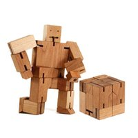 Wholesale In Business Robot cube Novelty d Robot Model Wooden Magic Cube Blocks Puzzle Toy for Kids Funny toy gift INBTGBP001 A9
