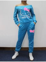 auto scoop - Jogging Suits Spring New Women Hello Kitty Printed Cotton Sweatshirts Set Autumn Hoodies Sport Suit Women Tracksuits Hoodies Pants