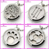 Wholesale IJP0080 L stainless steel aromatherapy perfume lockets essential oil diffuser necklace with free pads only pendant
