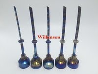 Wholesale 2016 Titanium Nail Carb Cap Rainbow Ti Nail dabber mm mm Straight sword carb cap Glass Bongs glass Oil Rigs