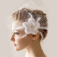 beautiful headdress flower - 2016 New Beautiful Bridal Hats Married White Vintage Handmade Gauze Flower Feather Romantic Headdress of Wedding Accessories