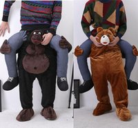 Wholesale 2016 Teddy Bear Stuffed Ride On Me Gorilla Mascot Costumes Animals Carry Me Pants Novelty Fancy Dress Costume for Purim Party