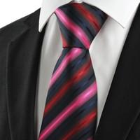 al por mayor lazo formal de color rosa-La venta caliente ata los corbatas de los hombres Lazo rayado para la raya roja negra rosada de los hombres Corbata clásica del juego del lazo de los hombres para el partido formal TIE1044 del negocio de la boda