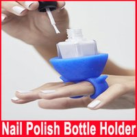 Wholesale Pure Color Nail Art Tools Beauty Care Accessories Necessities Silica Gel Nail Polish Bottle Holder Beauty Artifact Sets