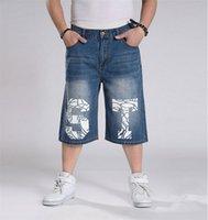 baggy shorts boy - Hip hHop Men Jeans Baggy Style For Boy And Men Hip Hop Short Jeans Rap Loose Pants Pants Size