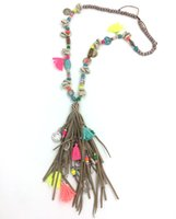 beaded chain suppliers - New personalized handmade jewelry supplier long beaded chain leather tassel pendents unique boho Bohemia long Necklaces