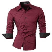 Wholesale casual shirts dress male mens clothing long sleeve social slim fit brand boutique cotton western button white black t