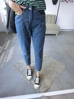 Wholesale High Quality Women Jeans Preppy Style Capris Spliced Boyfriend Harem Pants Loose Jeans Harajuku bf Cotton denim jeans