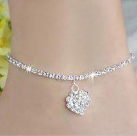 Wholesale Women s line New Women Lady Crystal Rhinestone Love Heart Anklet Ankle Bracelet Chain Jewelry