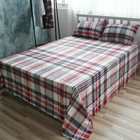 Wholesale Cotton Bed Linen Custom Size Tartan Checked Sheet Sets Cotton Flat Sheet Queen Fitted Sheet Twin Case Beddig Sets