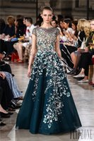 georges hobeika gowns - Elegant Georges Hobeika Dresses Evening Wear Sleeves D Floral Appliques Sheer Beaded Jewel Neck A Line Evening Gowns Sequined Formal Dress