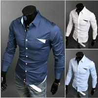 Wholesale Cotton Men Long Sleeve Solid Color Shirts Slim Fit Wild Dress Shirts For Men Plus Size Label Neck Business Casual Shirts J160461