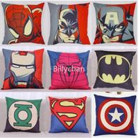 Wholesale Superhero Avengers cushion case Marvels pillow case superman batman Printed Cushion Cover linen Pillow Cover Cartoon Home Textiles D250