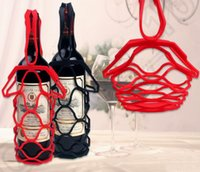 Wholesale 50PCS HHA792 Creative silicone rubber wine Basket bags Handle foldable high end wine baskets tensile mesh bag