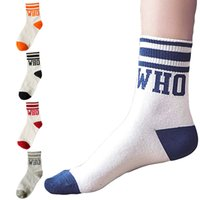 Wholesale 5 Pairs Autumn Fashion School Student Girl Personality Letters Striped Cotton Socks Korean Womens Colors Casual Short Sock Chaussette