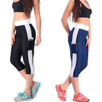 Wholesale Fashion Fitness Pants Women Seven Quater Side Pocket Elastic Slimming Leggings Large Size