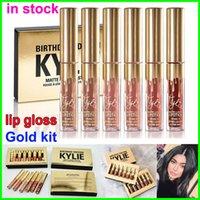Wholesale 2016 New Gold KYLIE JENNER Birthday Edition lipgloss kylie metal Makeup Lip Gloss Lips Kylie Jenner Matte Liquid Lipstick