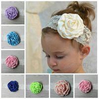 Wholesale Beautiful hair accessories headdress flower children solid lace satin silk rosebuds baby headband hair band Girl dress accessories