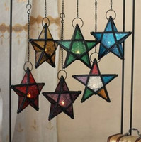 Wholesale Glass Pentagram European Style Iron Art Hanging Candle Holders Colorful Star Home Decor Light