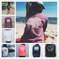 womens tops - Dindim Brand New Summer Ivory Ella T shirt Womens Clothing Tee Print Animal Elephant T Shirt Loose Long Sleeve Harajuku Tops For Women