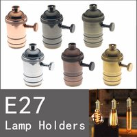 aluminum cfl lamps - 6pcs E27 Screw Type Base Lamp Holder Socket Fitting with the aluminum rotary switch For droplight Lights Bulb Spotlight CFL Halogen Lighting