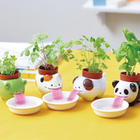 Wholesale Set pieces Peropon Drinking Animal Planter Cute Animal Tongue Pot Ceramic Self Watering Critter