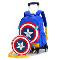 Wholesale Children trolley wheels elementary school student books bag backpack rucksack boy girls grade class with Shoulder bags