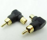 av angle - 10pcs RCA plug jack AV Lotus adapter plug Male to Female connector L shaped gold plated right angle bend