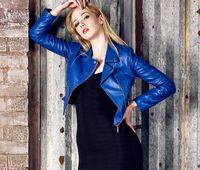 Wholesale Top high quality women fashion Faux leather jacket women short PU slim motorcycle Biker coat Jaqueta De Couno Femin suede royal blue colors