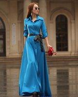 Wholesale 2016 women s long dresses full sleeve Shirt dress female V neck casual blue black bohemian maxi summer autumn dress