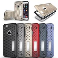 armor mesh - Fashion Mesh Ventilation Design in soft TPU With Hard PC Stand Holder Armor Case Cover For iPhone S Plus inch MOQ