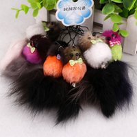animal transportation - Genuine fox tail keychain Transportation fur Fashion Charms trinket pendant creative car key bag key chain women jewelry gift